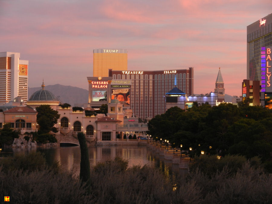 Prachtig uitzicht bij zonsopgang in Las Vegas