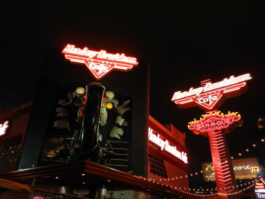 Prachtige neons Harley Davidson Cafe in Las Vegas!