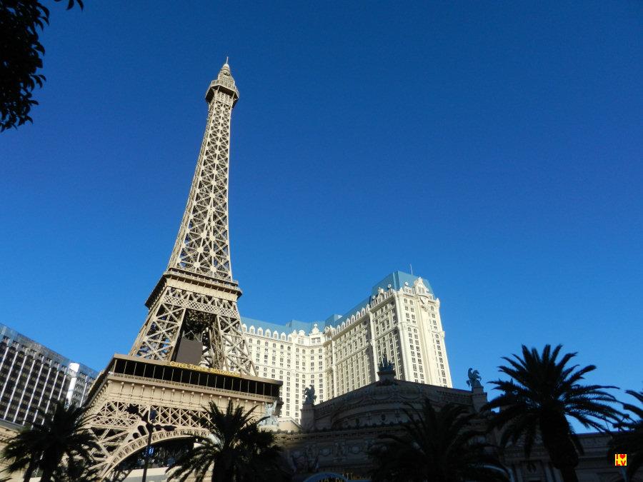 Prachtige Eiffel toren voor het Paris Hotel in Las Vegas.