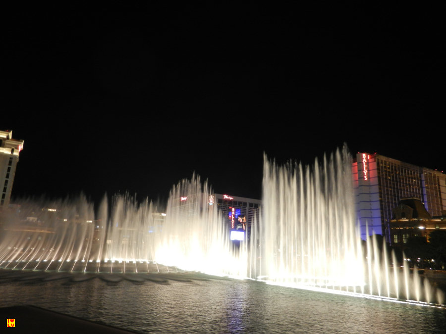 Een van de mooiste gratis attracties in Las Vegas. De dansende fonteinen voor het Bellagio Hotel in Las Vegas.