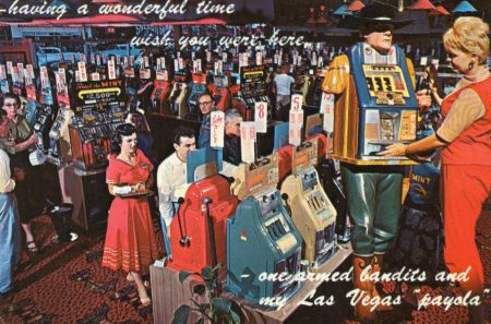 A colorful Scene at the Mint, one of the most popular casinos in downtown Las Vegas! Postcard: Collection NB1968
